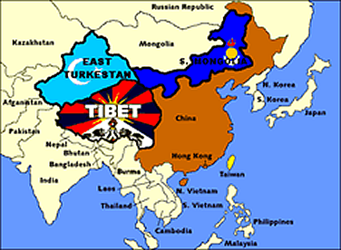 map showing east turkestan, tibet and inner mongolia