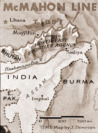 Disputed Border Between Chinese Occupied Tibet and India