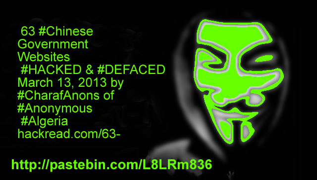 Anonymous Crashes 63 Chinese Government Sites | TIBET