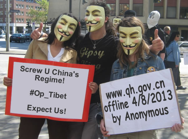 Anonymous Sinks Chinese Regime's Site In Amdo, Tibet