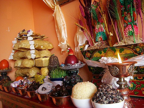Traditional Tibetan New Year Offering In The Home