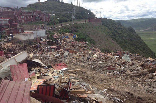 Just one area of Chinese ordered destruction at Larung Gar. a major center of Tibetan Buddhist study.