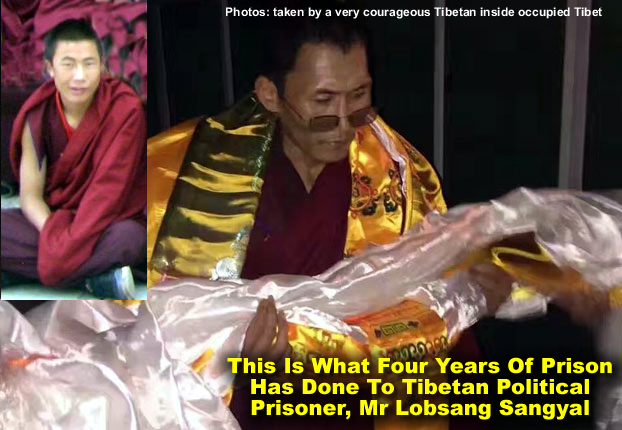 Images showing Lobsang Sangyal before (left) and upon release (main) from a Chinese prison.