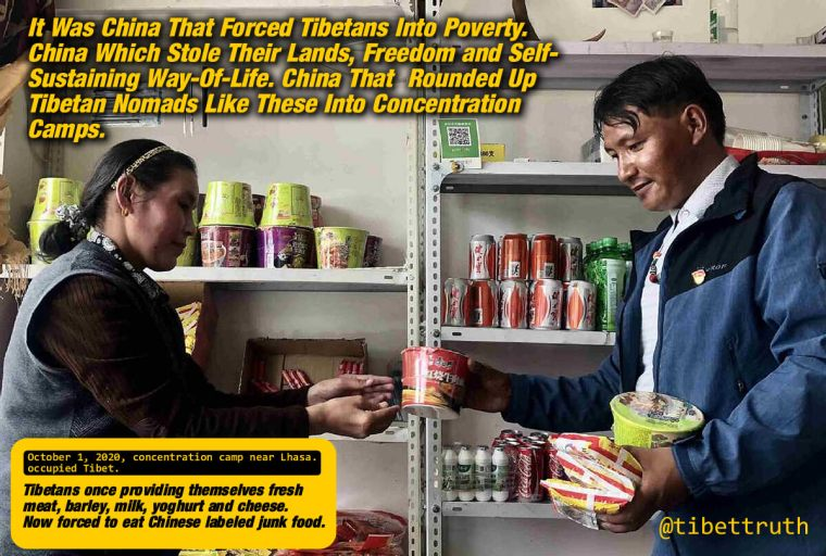 Tibetans In Occupied Tibet Forced Into A Dependency Of Chinese Junk Food.